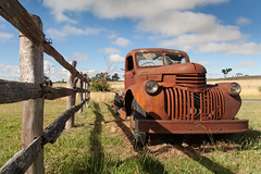 Rusted in Uralla (Peppergroyne) Tags: rusty rusted rusting crusty truck vintage ruraldecay newsouthwales uralla landscape fence old