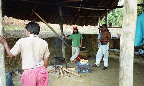 The guides cook up a meal at the first camp