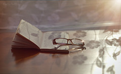 Upon Reflection.. (KissThePixel) Tags: sunlight sunset sun glasses reading read book reflection stilllife art artistic creative creativeart photography nikon sigma sigmaart light shadow gentle love january winter relax