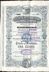 TRAZIONE NEL VALDARNO SUPERIORE SOC. PER LA (scripofilia) Tags: 1913 azioni superiore trazione trazionenelvaldarnosuperiore valdarno