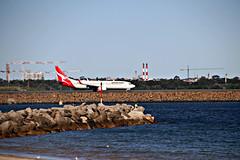 2017 Sydney: Sydney Airport & Botany Bay #18 (dominotic) Tags: sydney nsw australia newsouthwales 2017 botanybay water sydneyairport sydneykingsfordsmithairport airportrunway plane airplane jet beach brightonlesands qantas portbotany mascot ladyrobinsonsbeach
