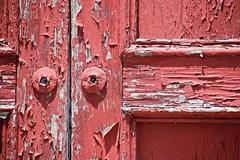 76/115 Red Door (Bella Lisa) Tags: door georgia peeling worn weathered cracking buford seeingred texturaltuesday 115picturesin2015