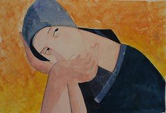 Mocinha sonhadora, homage to Peter Harskamp, by Ana (Dona Mincia) Tags: woman abstract art girl beauty watercolor painting paper arte inspired study moa romantic beleza tribute homage abstrato pintura dreamed homenagem releitura aquarela inspirado romntica rereading peterharskamp rejecter mocinhasonhadora