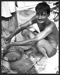 In the eyes of the Stone Tile Maker. (Deb Jones1) Tags: travel people bw india beauty canon outdoors 1 jones workers indian places explore countries deb streetscapes flickrduel debjones1