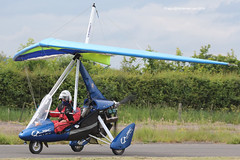 G-CEMZ - 2007 build P & M Aviation Pegasus Quik, arriving at Eshott for the 2014 Great North Fly-in (egcc) Tags: pegasus microlight eastlake quik 2014 weightshift greatnorth 8280 flexwing flyuk eshott rotax912 pmaviation gcemz