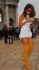 Milan Fashion Week spring/summer 2015 street style (Paulix Black) Tags: street city urban woman sexy girl beauty smart fashion lady cool glamour italia dress legs boots candid milano over moda style mini class glam chic elegant knee fashionista luxury settimana stylish classy elegance fashionable lusso streetstyle