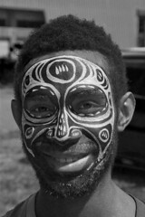 Tribal mask (Jamie B Ernstein) Tags: portrait blackandwhite smile nikon paint png tribe papuanewguinea portmoresby paintedface