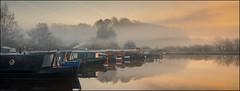 Ellesmere Marina (JasonPC) Tags: ellesmere shropshire marina golden morning light landscape water canal barge boat frost cold ice