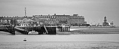 Fleetwood from Knot End in Mono (Gerry Hat Trick) Tags: fylde fluke hall knot end walk walking hike hiking waders water birds fleetwood pilling coast seaside ferry pier harbour estuary