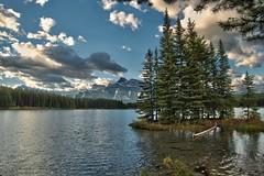 Almost an island, Two Jack Lake (virgil martin) Tags: mountains clouds lake landscape alberta canada panasoniclumixfz1000 oloneo gimp