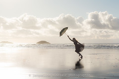 Beach Ballerina - She Strikes Again! - Explored (Jacqueline Sinclair) Tags: christmas travel ucluelet tofino british columbia canada beach sand reflection dance dancing umbrella ocean sea waves clouds wind nature alone