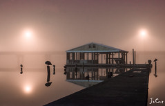 Misty Dock (JoCur89) Tags: fog mist canon 5dsr hdr water reflection wood pier sunrise night birds nature outdoors outside natural building river beach haze landscape lightroom photoshop mirror path dock