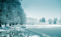The winter. (augustynbatko) Tags: lake snow ice nature landscape trees boats winter