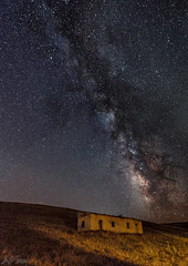 Alone in the Dark (acipinarli) Tags: milkyway astro panoramic astrophotography nightsky galaxy alone grass stars sky oldhouse nightscape abandonedhouse forgotten farmland lightpainting