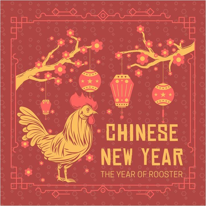 free vector happy chinese new year 2017 with rooster background cgvector tags 2017