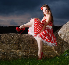 Holly HW 051 (Fast an' Bulbous) Tags: polkadot dress circle long brunette hair petticoat girl woman hot hotty sexy chick babe model pinup northamptonshire nenevalley hardwater mill people outdoor off camera flash strobist nikon d7100 gimp stockings high heels stilettos red shoes hardwatercrossing sixinchheels