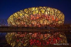 Beijing National Stadium (Rolandito.) Tags: 北京 peking beijing chine china 中华人民共和国 中国 national stadium nationalstadion blue hour reflection dusk twilight abend evening night nacht birds nest 鸟巢 国家体育场