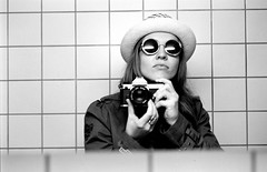 It's Me Again (JoonWolfsberg) Tags: camera white black hat sunglasses analog mirror nikon xp2 400 restroom ilford fm2 selfie joon wolfsberg