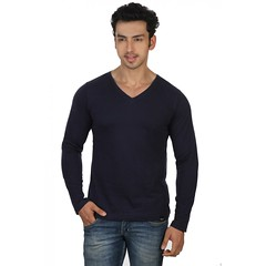Navy Blue Slim V Neck-Full Sleeve