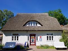 Rohrdachhaus mit Darer Schiffertre (Luminator-Blickwinkel) Tags: prerow dars reetdachhaus fischlanddars rohrdachhaus touristeninformationinprerow