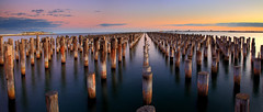 Princes Pier Dusk (Darren Schiller) Tags: ocean longexposure sunset panorama abandoned seaside dusk jetty melbourne victoria princespier