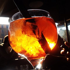 Stop with Spritz  (card.francesca) Tags: light red summer orange sun ice colors yellow estate drink stop sole sunbeam luce arancione spritz ghiaccio caldo