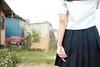 う -撮む- (atacamaki) Tags: summer portrait girl japan back fujifilm 夏 ポートレート 夏休み う セーラー服 23mm 指 背中 xt1 弟子 つまむ