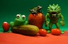 Still Life in Green and Red (ricko) Tags: green red radish pickle tomatos frogs apple monster toys werehere 352366 2016