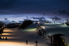 dusk, on the slopes (4tun8bug) Tags: skiing snowboarding slopes ice snow lights lamps dusk lastlight evening cold outdoor color clouds blue green purple orange night canont5i canon700d sky winter wintersports ski lifts trees people