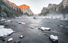 winter sunset in Yosemite Valley (lucmena) Tags: yosemitevalley nationalpark winter snow snowy frosty mist cold sunset landscape water river mercedriver trees mountains outdoor nature california scenic losangeles ca usa el capitan