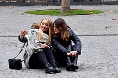 Girls (FaceMePLS) Tags: parijs paris frankrijk lafrance frankreich facemepls nikond5500 straatfotografie streetphotography meisje cellphone mobieltje handy selfie gsm appleiphone laarzen boots