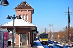 in the station (grumpyff) Tags: train railroad travel transportation passenger commute commuter valleystream ny newyork nassaucounty lirr longislandrailroad station m7 bombardier