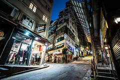 Corners at night (Phg Voyager) Tags: hk hongkong china central soho street urban cityscape city leica 18mm mp longexposure color phgvoyager empty shops restaurants terrasse dining fun quiet works building steepy steps bambu hotel boy girl