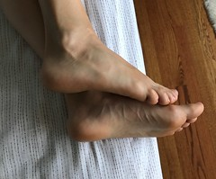 Morning Soles (Ped-antics) Tags: sexy feet female foot footfetish femalefeet soles sexyfemalefeettoessandalstoesbarelegsanklesheelshighheelsmulesslidessoles sexyfeet sexytoes heels heelfetish woman wrinkles ankles arches amateur