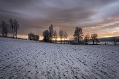 Winter (eriknst) Tags: outdoor snow sunset sky ice water trees maridalen oslo norway nikon 1424 field eriknst january 2017 leading lines calm frozen grass farm