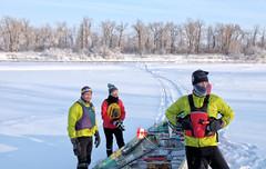 The Intrepid (Winter) Explorers (Sherlock77 (James)) Tags: calgary bowriver winter ice snow people man woman canoe