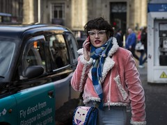 Cool For Cats (Leanne Boulton) Tags: outdoor people urban street candid portrait portraiture streetphotography candidstreetphotography candidportrait streetlife woman female girl face facial expression look emotion feeling atmosphere mood pink blue style stylish fashion cat glasses hipster retro chic tone texture detail depthoffield bokeh natural light shade shadow naturallight city scene human life living humanity society culture canon 5d 5dmarkiii 70mm character ef2470mmf28liiusm color colour glasgow scotland uk
