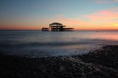 West Pier Sunset (Crisp-13) Tags: brighton sussex west pier sunset red sky pebble beach sea coast seaside long exposure wide angle