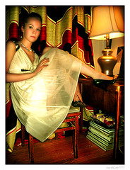 "Meleksah ""GoGo"" - Feet Up (merkley???) Tags: sanfrancisco portrait lamp fashion angel photoshop portraits vintage saturated hipsters doll propaganda textures portraiture saturation curtains safe sweetheart gogo retouched airbrush whitedress vintagedress meleksah chicksset"