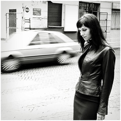 * (WingsForMarie) Tags: street bw car leather canon anette lodz abigfave