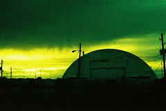 Nuclear Toxic Waste Remnants (Marc Rodriguez 24) Tags: rollei digibase cr200 agfa nikon f3 f3hp nikkor 50mm 14 5014 ais prime lens e6 color reversal slide film grain c41 cross processed xpro experimental photography street sunset dramatic sky apocalyptic inexplore explored