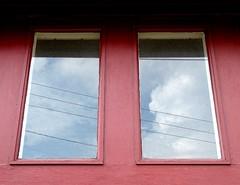 red windows (zen) Tags: windows sky clouds reflections neighborhood powerlines osfios westasheville 20050815 zensutherland