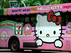 Dream Car (Pink Sushi) Tags: sanrio hellokitty publictransport pink singapore bus promotion