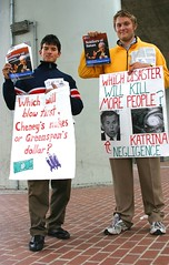 LaRouche Supporters (Thomas Hawk) Tags: people katrina bush kill georgebush protest first blow more will disaster dollar satan cheney soldiers dickcheney protesting which protesters nukes larouche greenspan alangreenspan bayarearapidtransit macarthurbart lyndonlarouche soldiersofsatan negligence cheneys greenspans