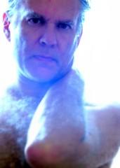 Glare (O Caritas) Tags: blue people selfportrait me fog backlight self bathroom whiteground ocaritas