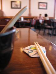 Mikado (janinewhite) Tags: 2005 arizona 15fav topv111 table restaurant dof room az bowl chopsticks mikado dining chandler jgoldpac muted