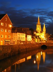 St Finbarr's Cathedral, Cork (John Wallace Photography) Tags: ireland reflection night reflections river evening cork lee finbarr riverlee irishphotos stfinbarrscathedral jwallace johnew johnwallace