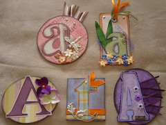 monogram swap! (call me kim) Tags: monogram monograms scrapbooking scrapbook handmade ribbon eyelets brads blooms tags