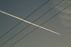 vapour wires (algo) Tags: blue sky white black wow photography dawn angles wires weeklysurvivor vapourtrail mc05 mc05negativespace weeklyblog16