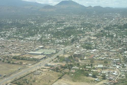 Aerial shot of Arusha, Tanzania.